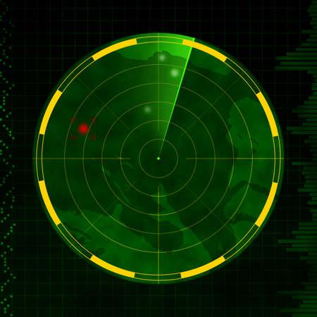 Radar met rode en groene doel blip vegen arm.