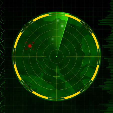 radar: Radar with red target blip and green sweeping arm.
