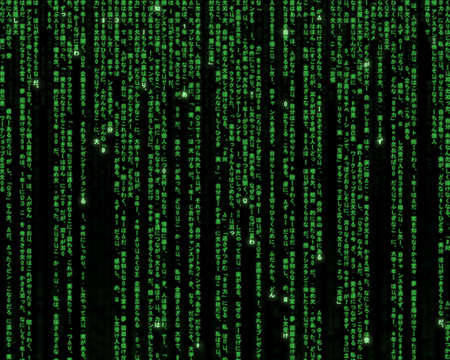 matrix: Futuristic green and black background, using digits and characters.