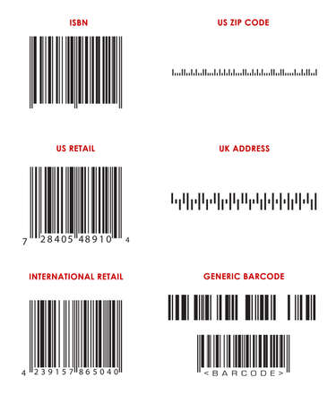 format: Bar codes of various formats (UPC, EAN, ISBN, Zip Code, UK address and generic barcodes. ALL Bar Codes are correct format, but imaginary.