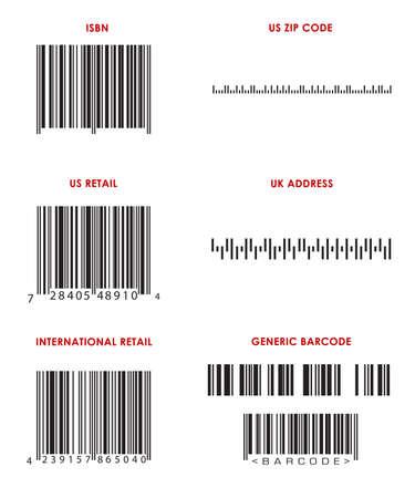 Streepjescodes van verschillende formaten (UPC, EAN, ISBN-nummer, postcode, UK adres en generieke barcodes. ALLE streepjescodes correct zijn formaat, maar imaginaire. Stockfoto
