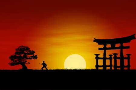 pagoda: Samurai japon�s de combate durante la silueta perfecta de combate Samurai sunset.Japanese silueta perfecta durante la puesta de sol. Foto de archivo