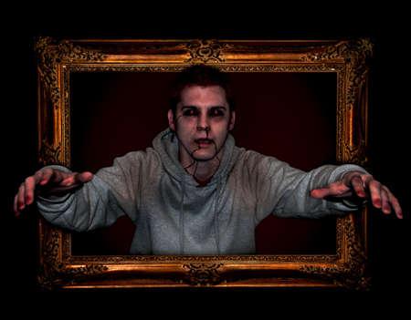 Zombie in Picture Frame. Bekijk close-up voor hoog detail. Stockfoto