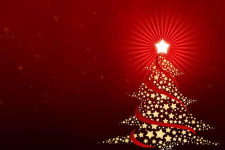 Kerst boom van sterren met een rode achtergrond.