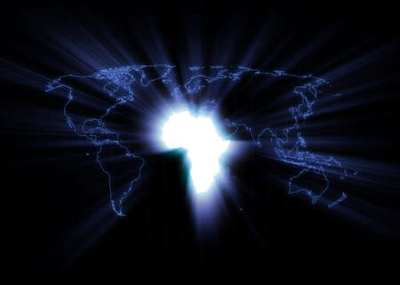 World map with Africa glowing. photo