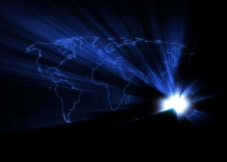 World map with Australia glowing. photo