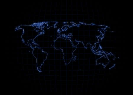 World map with outline glowing. photo