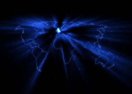 연합 왕국: World map with the United Kingdom glowing. 스톡 사진