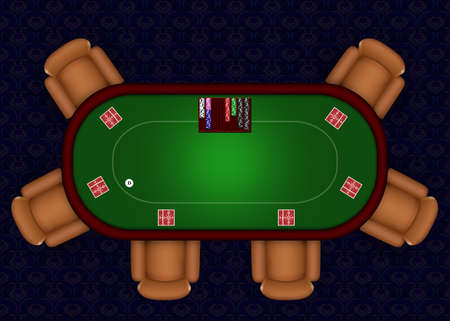 Online Poker table with playing cards and chips Stock Photo