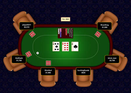 Online poker table with flop revealed in a game of Texas Hold Em. Stock Photo