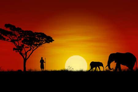 Afrikaanse zons ondergang met olifanten en een Massai Warrior  Stockfoto