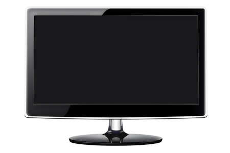 Modern flat screen television in a sleek glossy black style