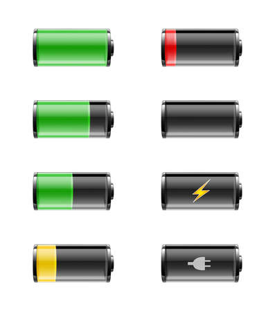 Batteries with various charges from fully charged to empty, on a white background