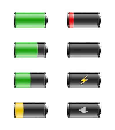 Batterijen met diverse lasten van volledig opgeladen wilt leegmaken, op een witte achtergrond