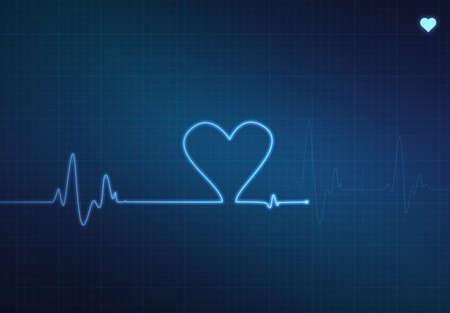wellenl�nge: Heart-shaped Blip auf einem medizinischen Herzmonitor (Elektrokardiogramm) mit blauen Hintergrund und Herz-symbol