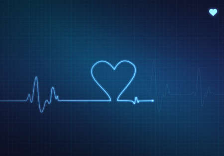 vitals: Heart-shaped blip on a medical heart monitor (electrocardiogram) with blue background and heart symbol Stock Photo
