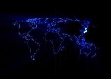 Wereld kaart met de Japan gloeien met een zwarte achtergrond.  Stockfoto