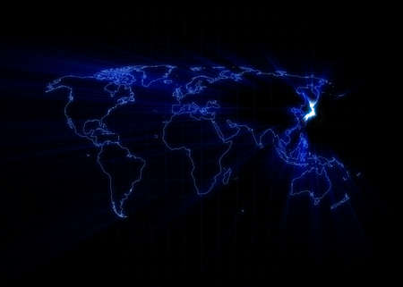world communication: World map with the Japan glowing with black background. Stock Photo
