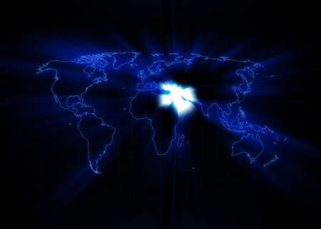 World map with the Middle East glowing with black background. Stock Photo