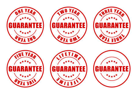 lifetime: 1,2,3,5 year and Lifetime Guarantee Stamps collection Stock Photo