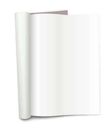 Blank magazine with folded pages, on a white background with shadows. Stock Photo