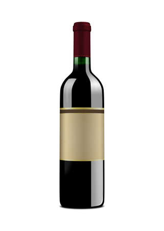 glass reflection: Red wine bottle, with vintage label. Isolated on a white background