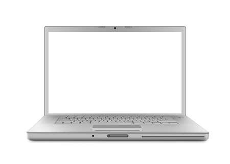 Zilveren laptop computer. Geïsoleerd met een wit scherm op witte achtergrond.