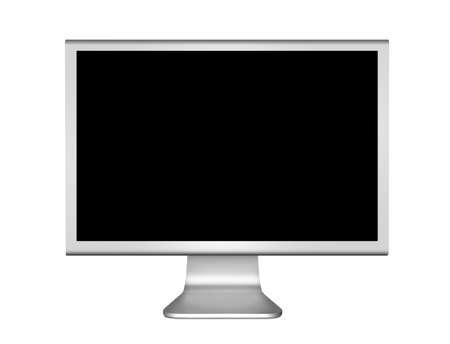 Zilveren computermonitor, generieke modern design met zwart scherm. Geïsoleerd op een witte achtergrond  Stockfoto