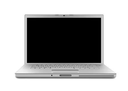 Laptop computer . Isolated with a black screen on white background.