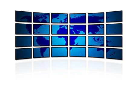 Wereld kaart op digitale TV muur, met schaduw en reflectie.