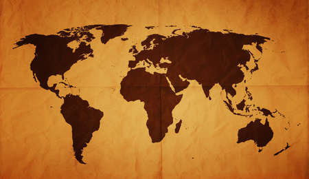 vintage world map: Old World map on creased and folded old paper with stains on.
