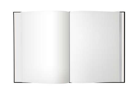 Open book with blank pages, isolated on a white background.