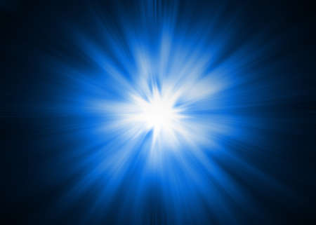 Dramatic blue and white Light burst  Sunburst on a black background