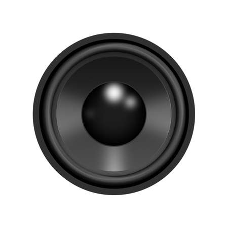 sub woofer: Music stereo speaker isolated on a white background with clipping path. Realistic digital generation. Ideal for design work. Stock Photo