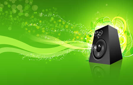 Loudspeaker on green urban background with copy space.