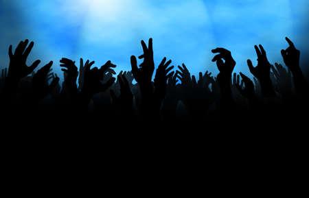 Silhouet van een menigte met opgeheven handen, tijdens een concert of op de dansvloer in een club.