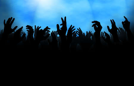 applauding: Silhouette of  a crowd with raised hands, either at a concert or on the dance floor in a club. Stock Photo