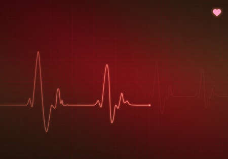 pulse trace: Medical heartbeat monitor (electrocardiogram) with red background and heart symbol