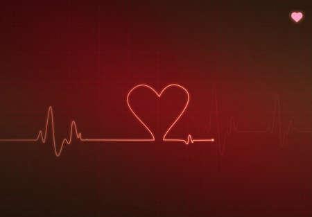 elettrocardiogramma: Blip a forma di cuore su un monitor di cuore medica (elettrocardiogramma) con il simbolo di sfondo e il cuore rosso