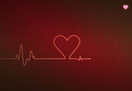 pulse trace: Heart-shaped blip on a medical heart monitor (electrocardiogram) with Red background and heart symbol