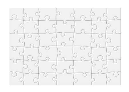 Jigsaw puzzle with blank white pieces and a modern feel, isolated on white background Stock Photo - 9584138