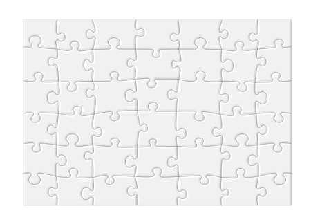 Puzzel met de lege witte stukken en een modern gevoel, geïsoleerd op witte achtergrond