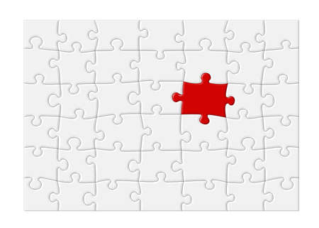 one piece: Jigsaw puzzle with blank white pieces and one red piece that stands out, isolated on white background Stock Photo