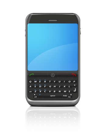 Moderne internet mobiele telefoon  gsm die op een witte achtergrond met bezinning.