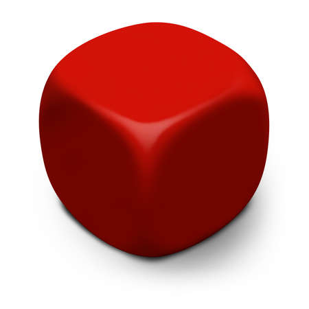 kostky: Modern blank red 3D cube isolated on a white background with shadow.