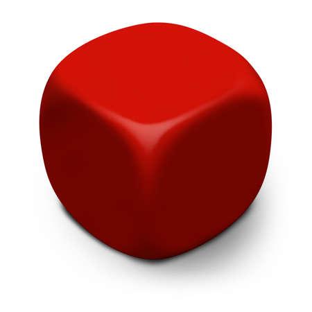 dados: Moderno en blanco 3D cubo rojo aislado en un fondo blanco con sombra. Foto de archivo