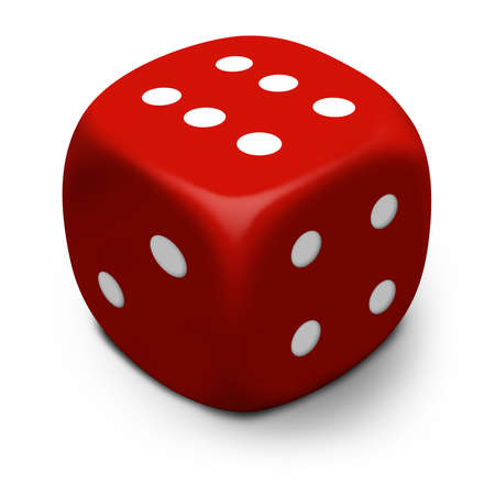 Modern 3D red dicedie that rolled a six, isolated on a white background with shadow.