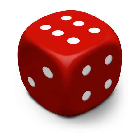 Moderne 3D rode dobbelstenen  sterven die een zes rolde, geïsoleerd op een witte achtergrond met schaduw. Stockfoto