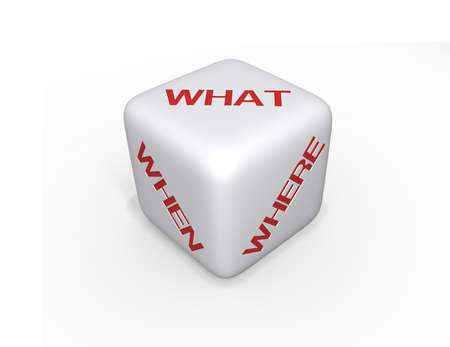 White Dice with what, when and where in red text on a white background and a shadow. photo