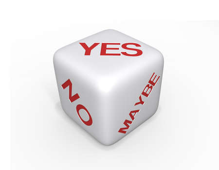 White Dice with Yes, No and Maybe in red text on a white background and a shadow. photo